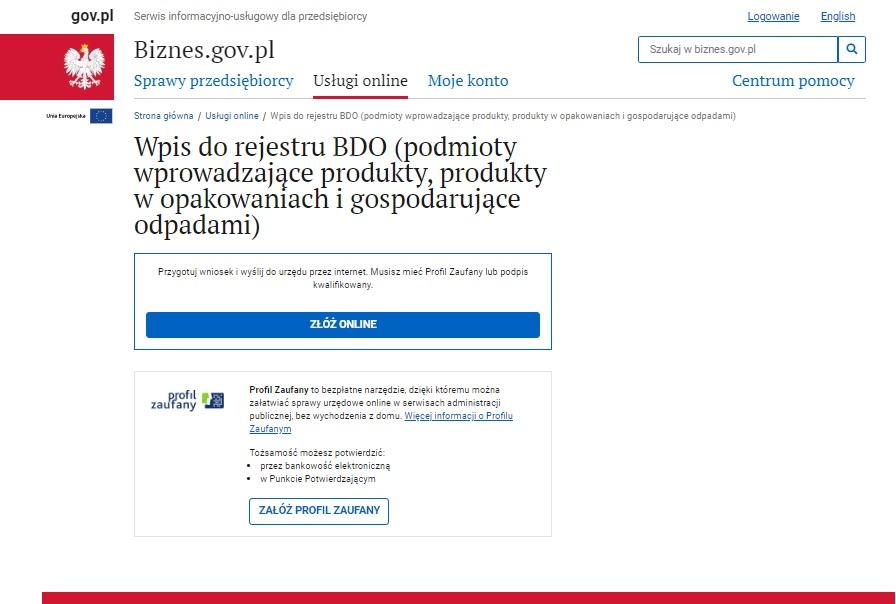 Wniosek o wpis do Rejestru BDO